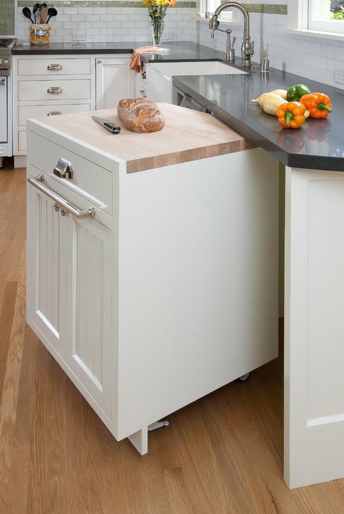 Modern Farmhouse Kitchen Organization: Pull-out Cutting Board Cabinet