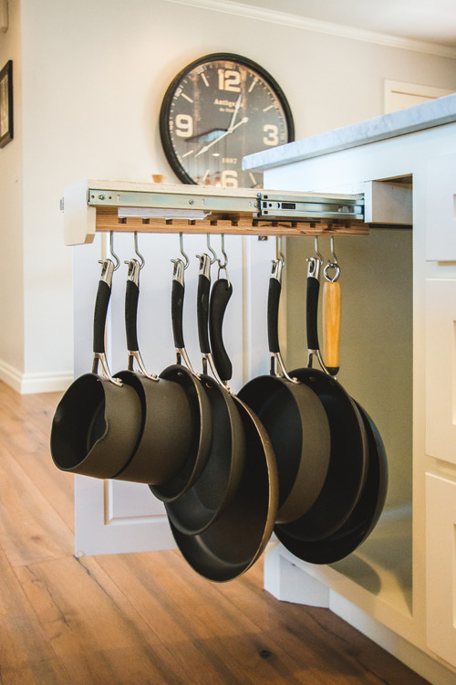 Modern Farmhouse Kitchen Organization: Pull-out Hanger for Pots and Pans