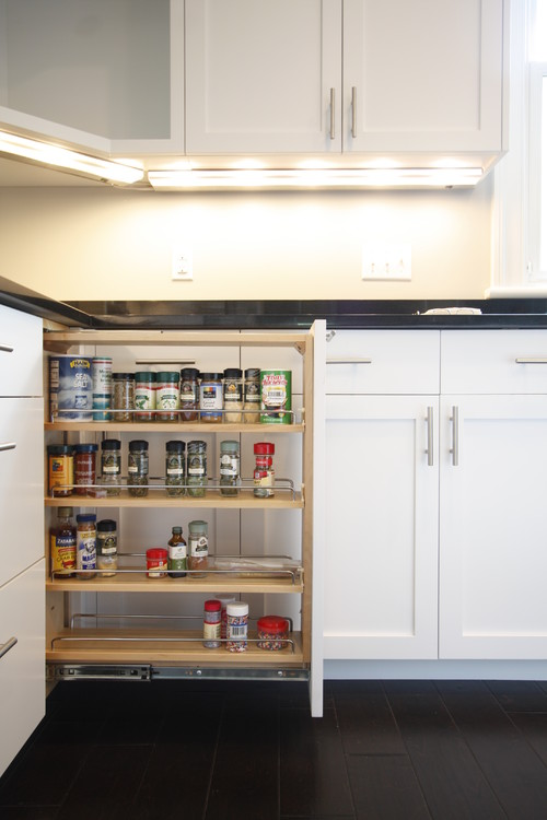 Modern Farmhouse Kitchen Organization: Pull-out Spice Cabinet