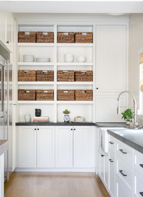 Modern Farmhouse Kitchen Organization: Shelf with Baskets