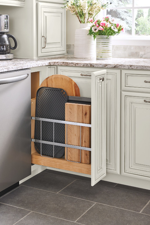 Modern Farmhouse Kitchen Organization: Slide-out Cabinet for Cutting Boards