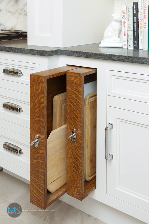 Modern Farmhouse Kitchen Organization: Slide-outs for Cutting Boards