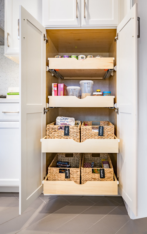 Modern Farmhouse Kitchen Organization: Slide-outs for Dry Goods