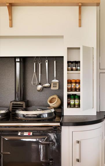 Modern Farmhouse Kitchen Organization: Spice Cabinet by Stove