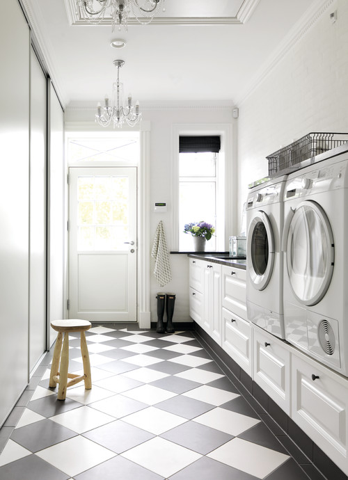 Modern Farmhouse Laundry Room with Black and White Checkered Floor - Modern Farmhouse Laundry Room Ideas