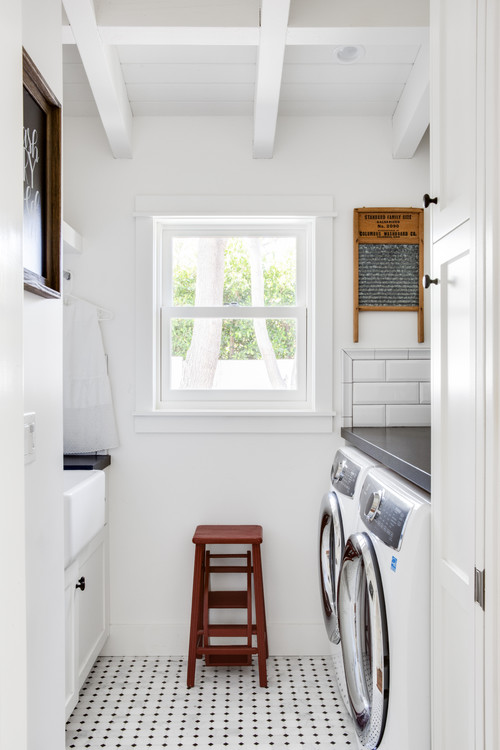 Modern Farmhouse Laundry Room with Black and White Tiled Floor - Modern Farmhouse Laundry Room Ideas