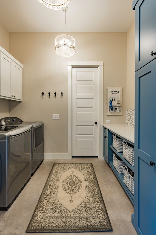 Modern Farmhouse Laundry Room with Blue Cabinets