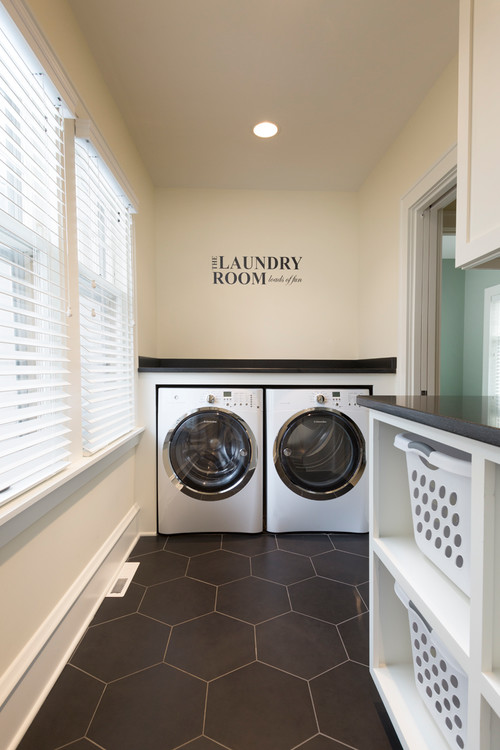 Modern Farmhouse Laundry Room with Built in Folding Counter