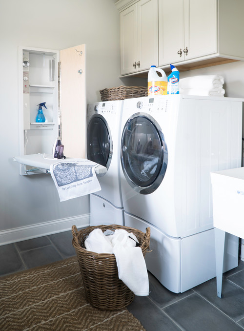 Modern Farmhouse Laundry Room with Built-in Ironing Board Cabinet
