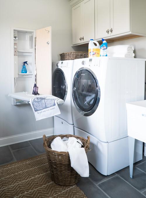 Modern Farmhouse Laundry Room with Built-in Ironing Board Cabinet - Modern Farmhouse Laundry Room Ideas