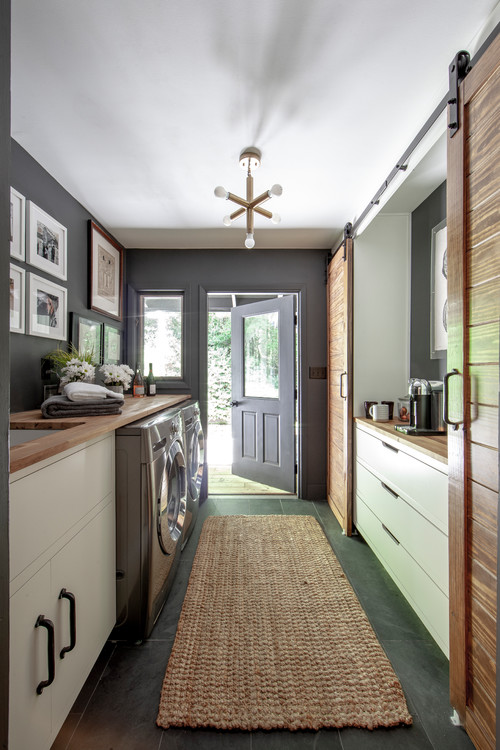 Modern Farmhouse Laundry Room with Dark Gray Walls