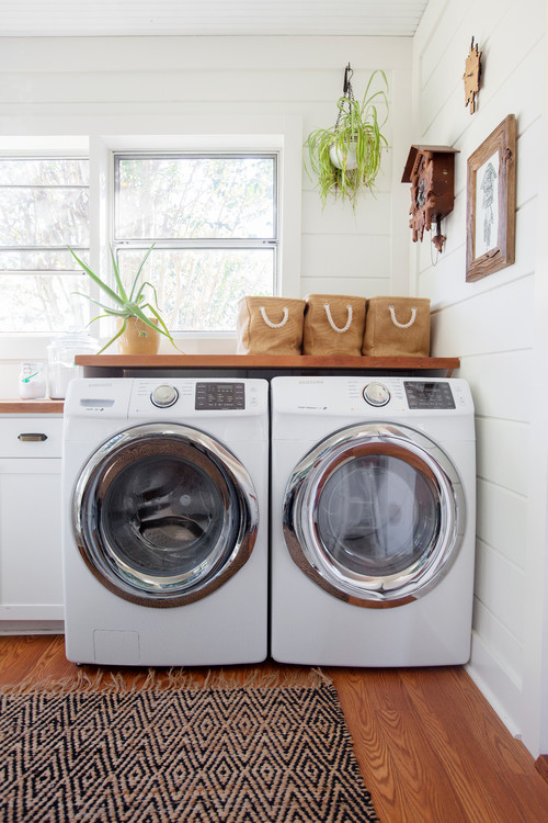 Modern Farmhouse Laundry Room with Shiplap Walls