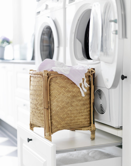 Modern Farmhouse Laundry Room with Slide-out Pedestals - Modern Farmhouse Laundry Room Ideas
