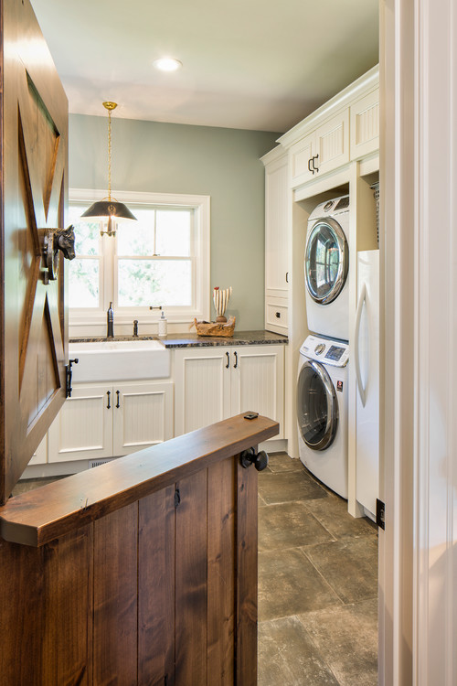 Modern Farmhouse Laundry Room with Wooden Dutch Door - Modern Farmhouse Laundry Room Ideas