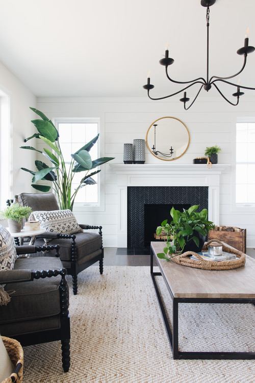 Modern Farmhouse Living Room with Black Tiled Fireplace