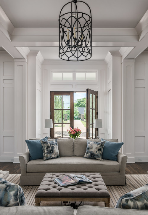 Modern Farmhouse Living Room with Detailed Trim Work