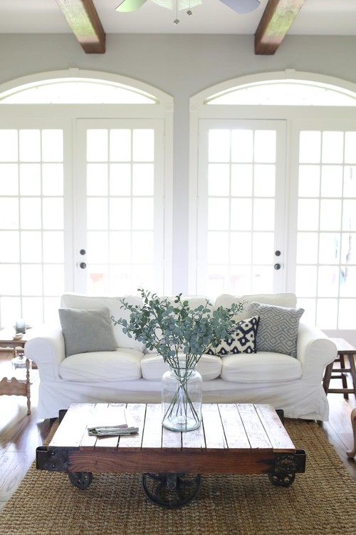 Modern Farmhouse Living Room with Factory Cart Coffee Table