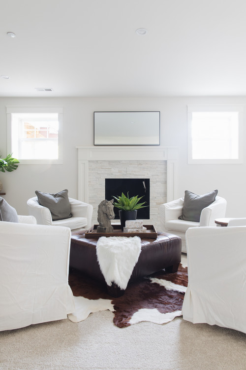 Modern Farmhouse Living Room with Four White Slipcovered Chairs