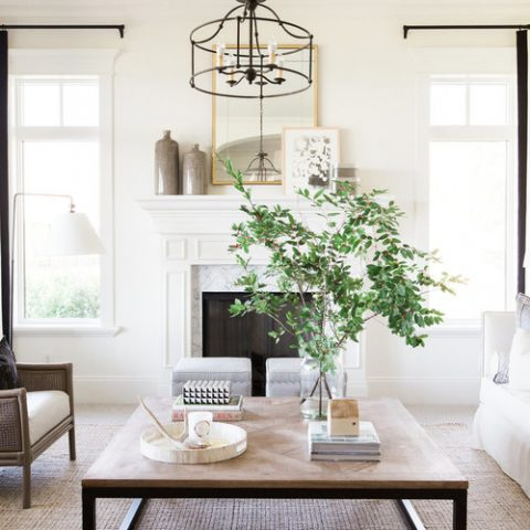Modern Farmhouse Living Room with Metal and Wood Coffee Table