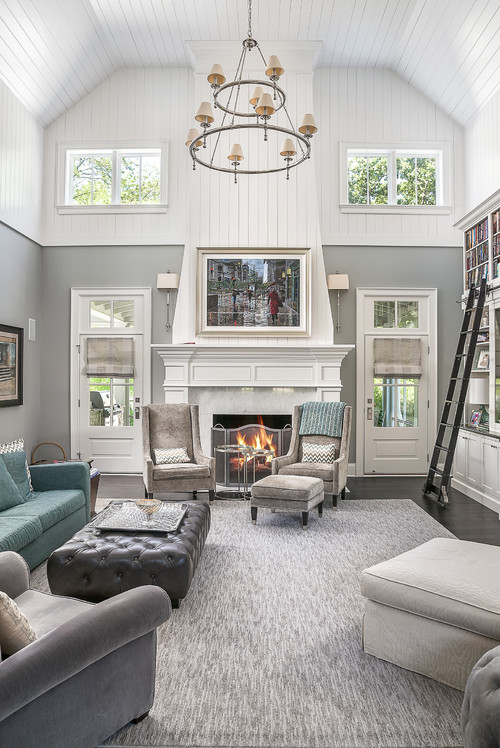 Modern Farmhouse Living Room with Shiplap Fireplace and Ceiling