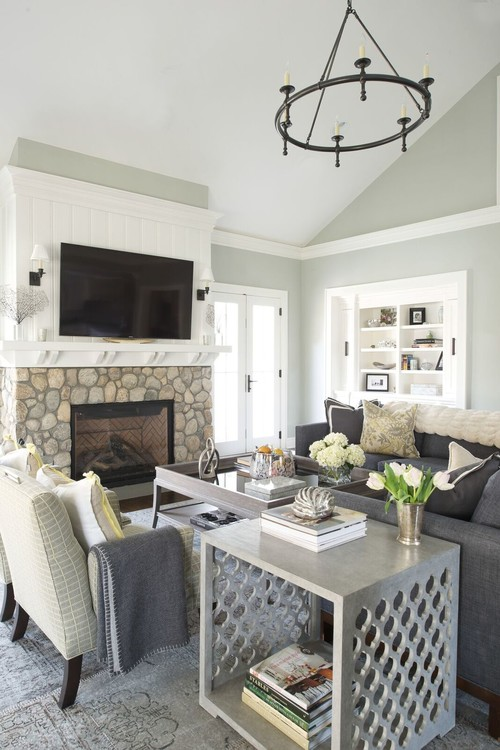 Modern Farmhouse Living Room with Stone Fireplace
