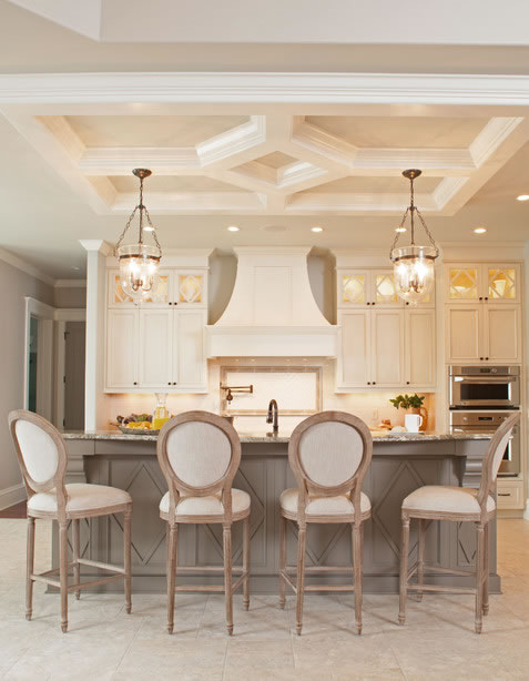 Neutral Modern Farmhouse Kitchen with Beige Cabinets and Taupe Kitchen Island