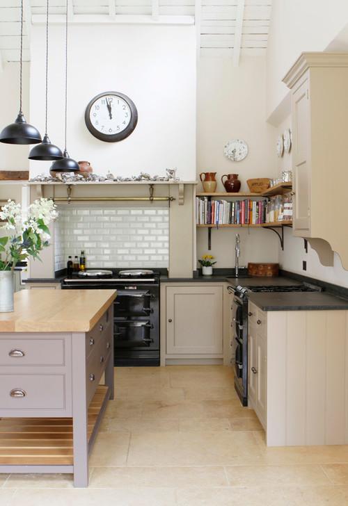 Neutral Modern Farmhouse Kitchen with Beige Cabinets