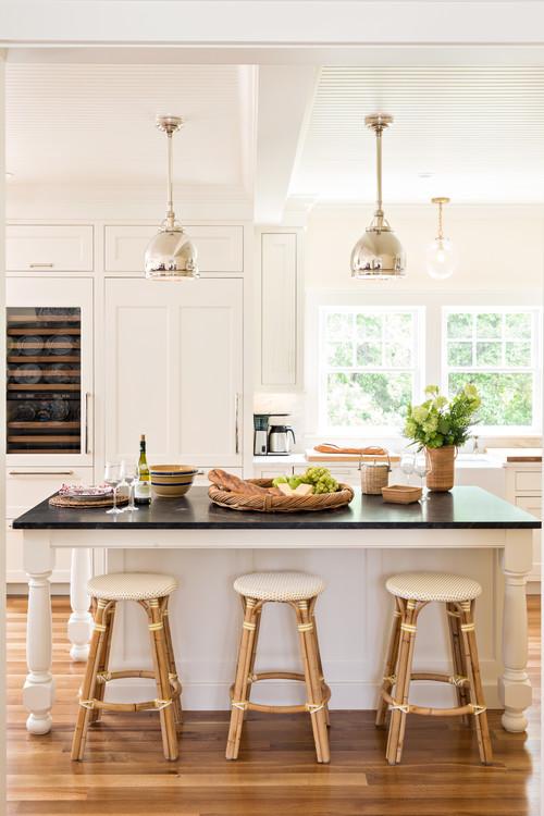 Neutral Modern Farmhouse Kitchen with Black Kitchen Island Countertop