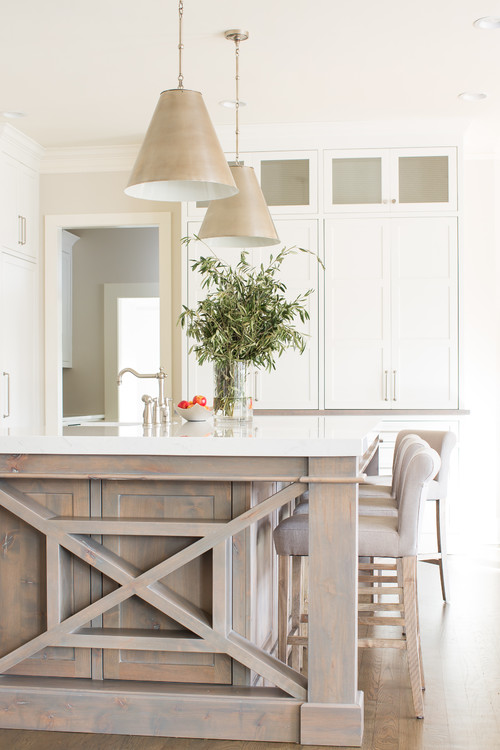 Neutral Modern Farmhouse Kitchen with Distressed Kitchen Island Detail