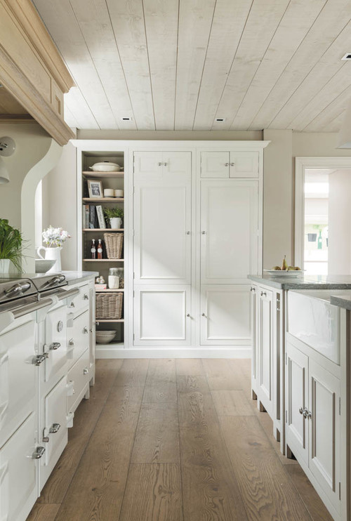 Neutral Modern Farmhouse Kitchen with Light Wood Ceiling
