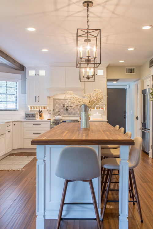 Neutral Modern Farmhouse Kitchen with Wooden Kitchen Island Countertop