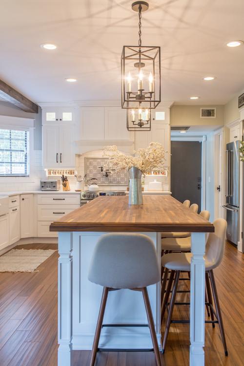 Neutral Modern Farmhouse Kitchen with Wooden Kitchen Island Countertop