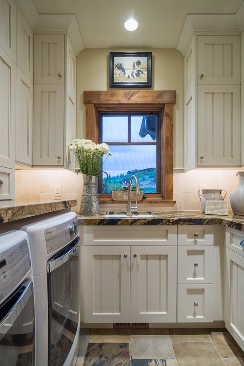 Rustic Modern Farmhouse Laundry Room with Storage - Modern Farmhouse Laundry Room Ideas