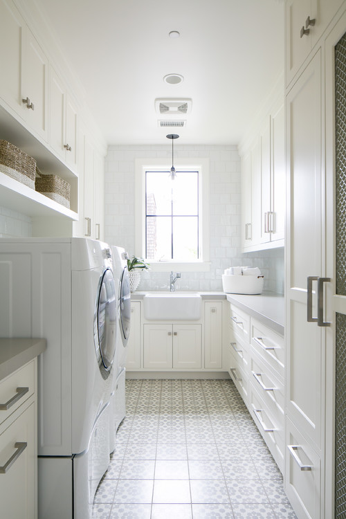 White Modern Farmhouse Laundry Room