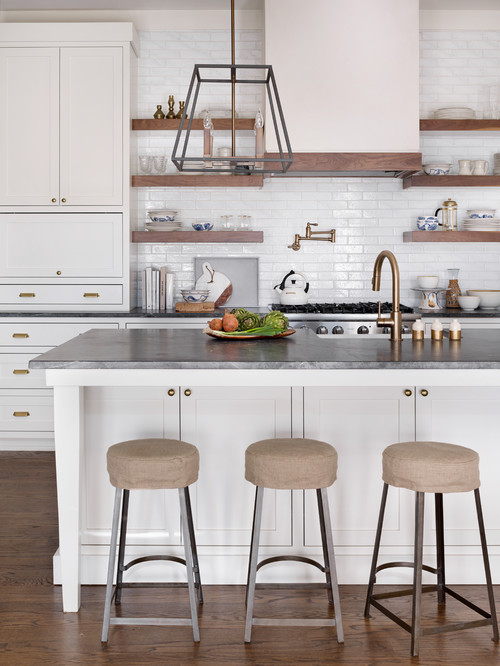 White and Wood Modern Farmhouse Kitchen with White Cabinets and Floating Wood Open Shelves on Subway Tile