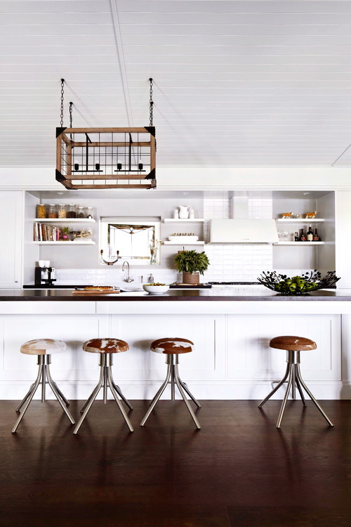 White and Wood Modern Farmhouse Kitchen with White Cabinets Wood Light Fixture and Dark Wood Floor