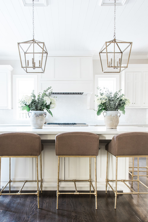 White and Wood Modern Farmhouse Kitchen with White Cabinets and Dark Wood Floor
