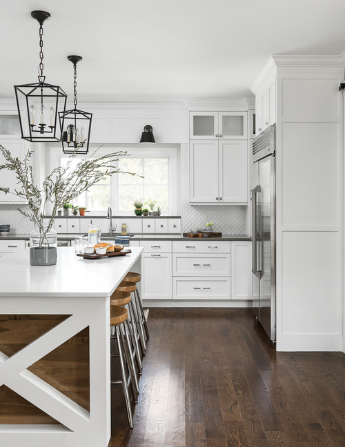 White and Wood Modern Farmhouse Kitchen with White Cabinets and X-Style Island with Wood Inlay