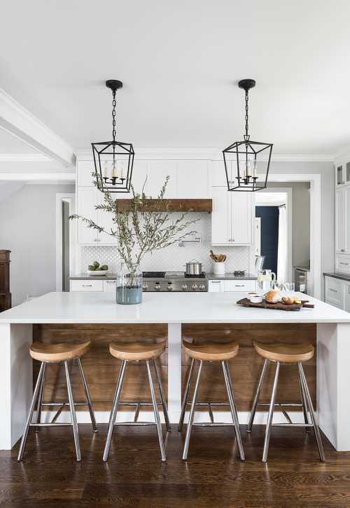 White and Wood Modern Farmhouse Kitchen with White and Wood Island