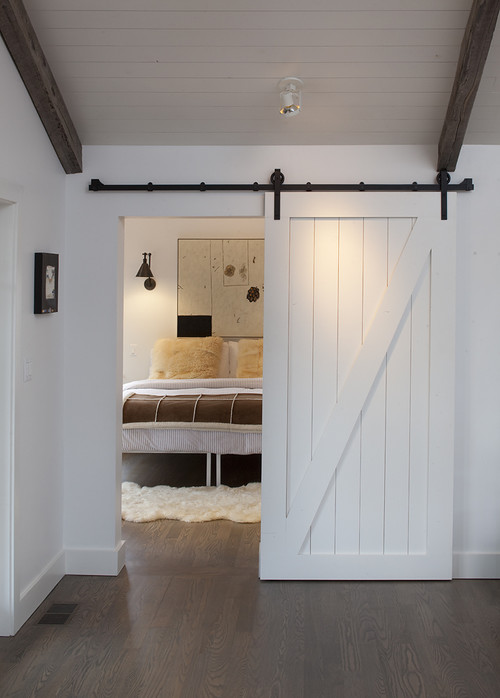 Farmhouse Bedroom White Sliding Barn Door