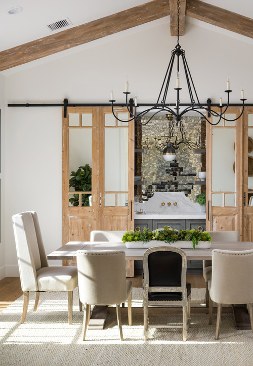 Farmhouse Dining Room Sliding Barn Door