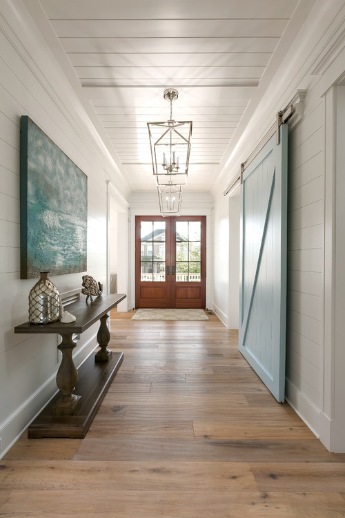 Farmhouse Entry Light Blue Sliding Barn Door