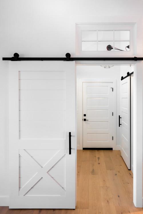 Farmhouse Entry White Sliding Barn Door