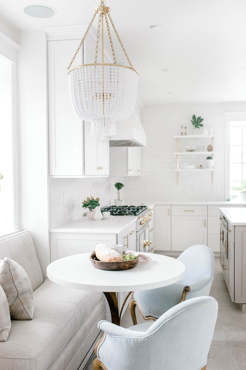 Breakfast Nook Banquette with Upholstered Loveseat and Chairs