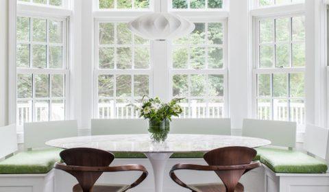 Built-in Breakfast Nook Banquette in a Bay Window