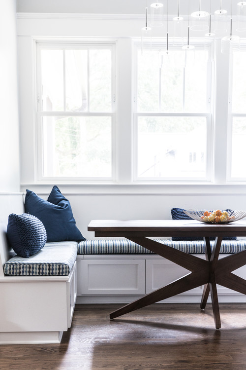 Built-in Breakfast Nook Banquette with Blue Pillows