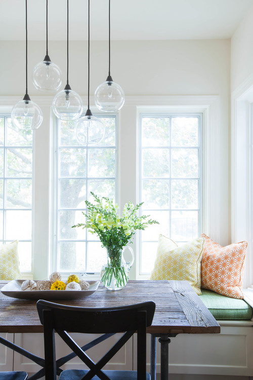 Built-in Breakfast Nook Banquette with Cheerful Colors