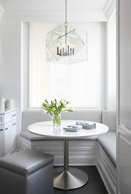 Built-in Breakfast Nook Banquette with Light Gray Cushions