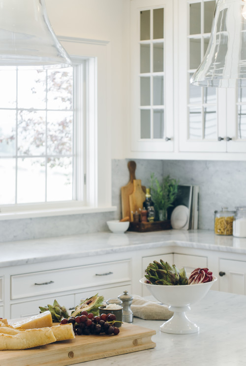 Farmhouse Fresh Kitchen with Gray Marble Countertops and Backsplash