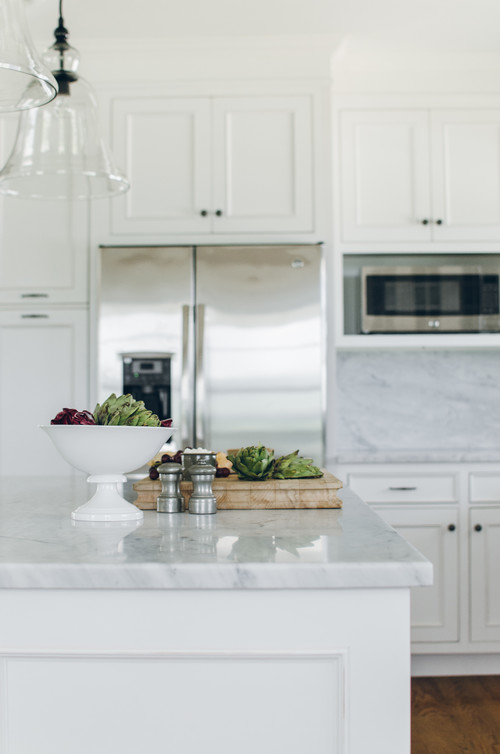 Farmhouse Fresh Kitchen with Gray Marble Island Countertop